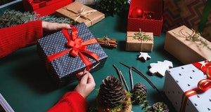 Wrapping gifts.