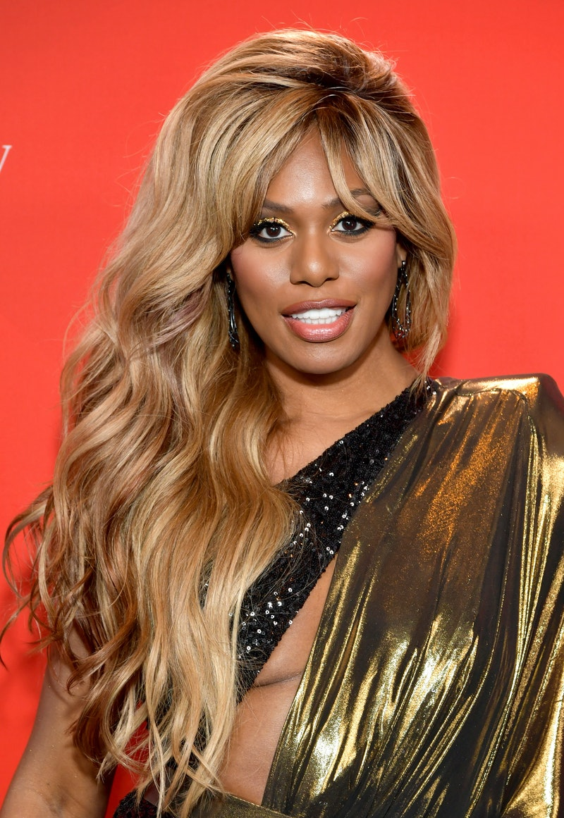 Laverne Cox's gold lead eyes are a great winter 2021 makeup trend.