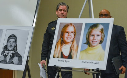 Police present photographs of the Lyon sisters and their killer, Lloyd Lee Welch Jr.