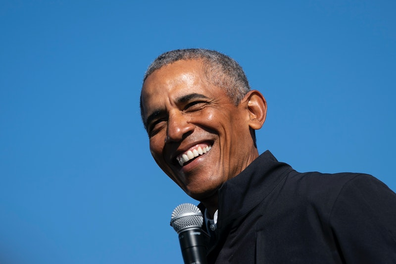 Former U.S. President Barack Obama speaks during a 2020 Michigan drive-in campaign rally for Joe Biden