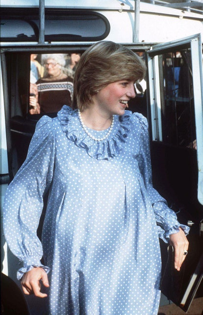 Princess Diana pregnant in a blue and white polka dot dress, 1982.