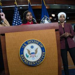 Reps. Rashida Tlaib, Ayanna Pressley, Ilhan Omar, and Alexandria Ocasio-Cortez