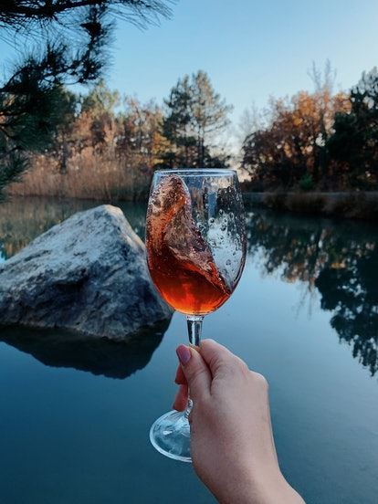 A woman holds up a glass of wine in front of a lake with fall foliage. Doctors explain what happens to your body after just one glass of wine.
