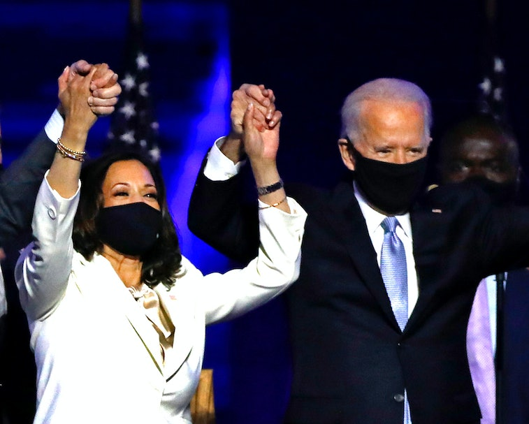 Joe Biden and Kamala Harris declaring victory.