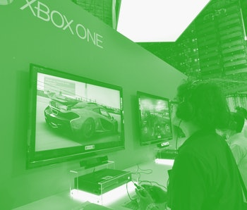 A person plays a game on an Xbox One.