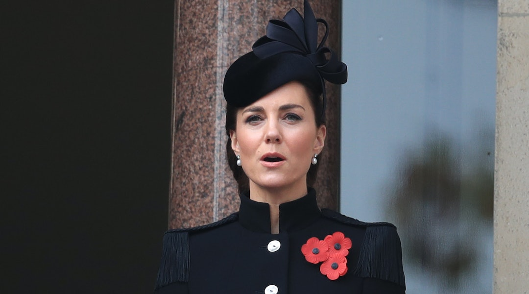 kate middleton s remembrance sunday updo is a noteworthy change from her usual blown out waves remembrance sunday updo