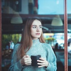 window, coffee, woman