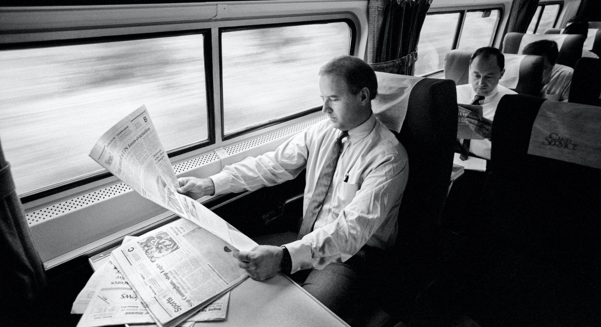 Joe Biden on the metro liner from Delaware to D.C. in 1988.