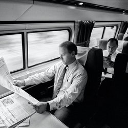 Joe Biden on the metro liner from Delaware to D.C. in 1988.