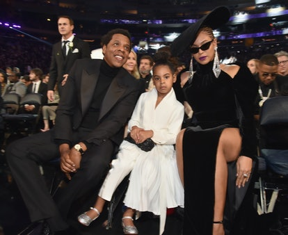 Jay-Z, Blue Ivy, and Beyoncé at the 2018 Grammy Awards ceremony in New York City