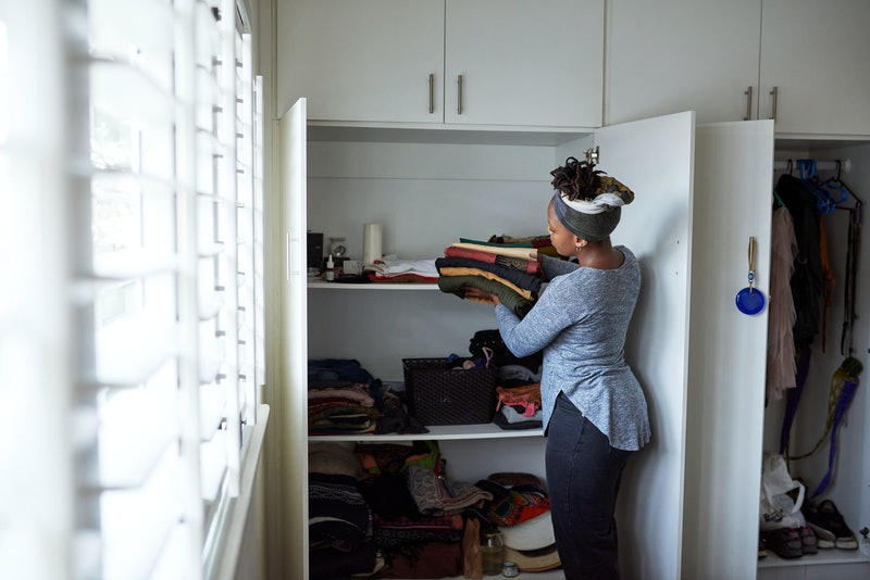 woman, organizing, cleaning, closet