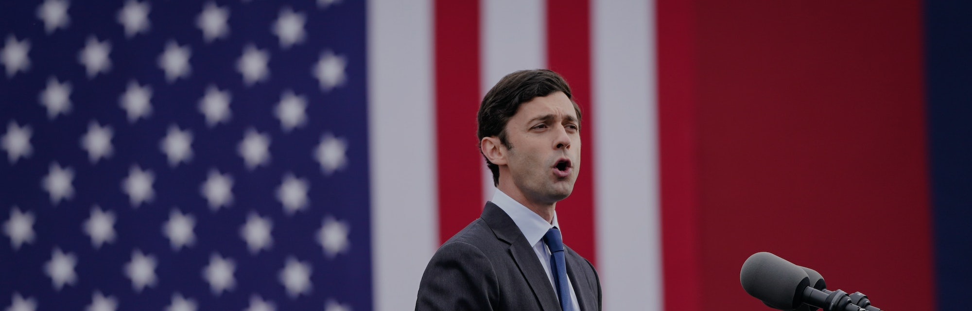 Jon Ossoff, candidate for Georgia Senate, speaking at a campaign rally.