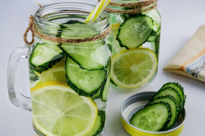 healthy, water, lemon, cucumber