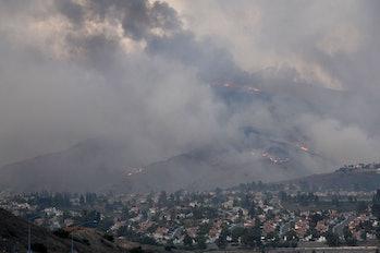 Smoke rising over Los Angeles.