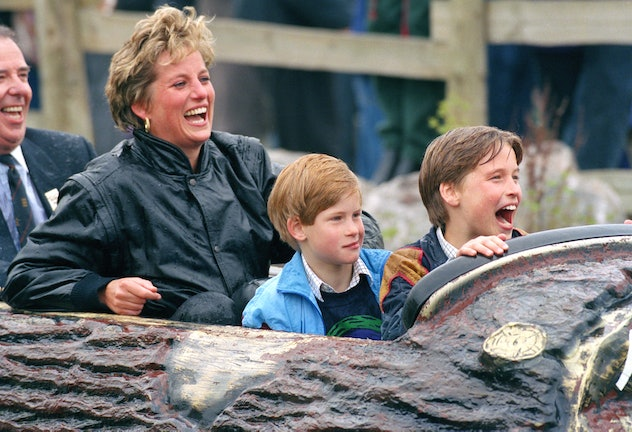 Prince William laughing it up at Thorpe Park with his mom and brother, 1991.