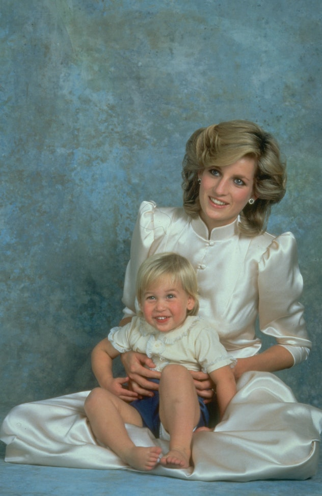 Prince William poses for a portrait with his mom Princess Diana in 1984.