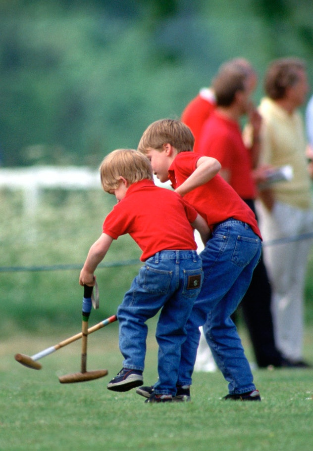 Prince William plays his own version of polo in 1990.