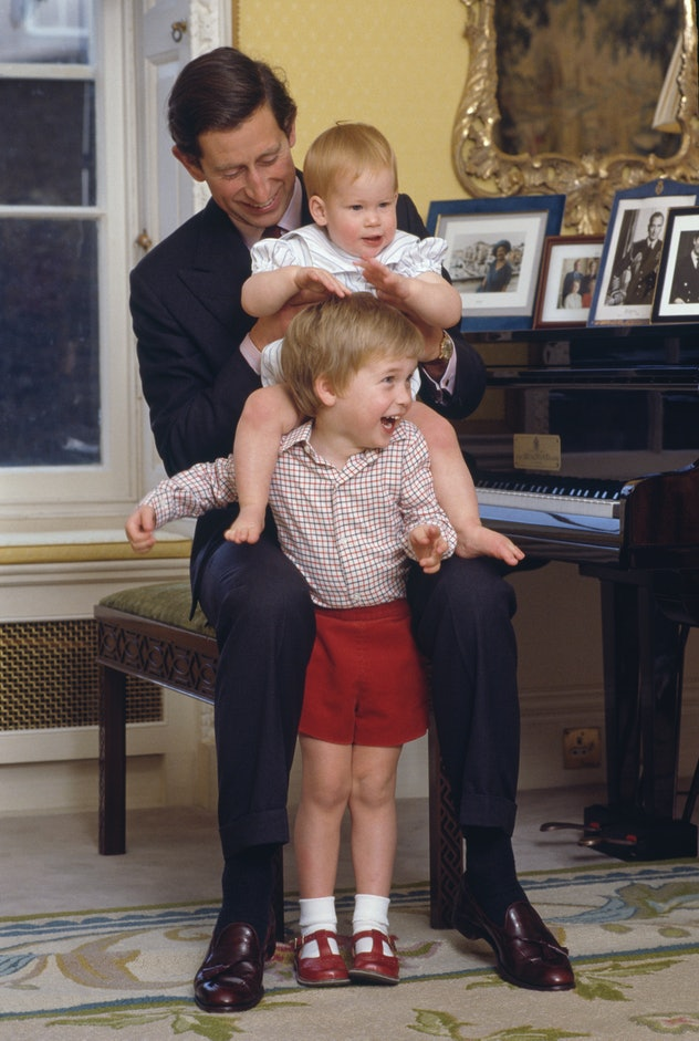 Prince William gives Prince Harry a lift in 1985.