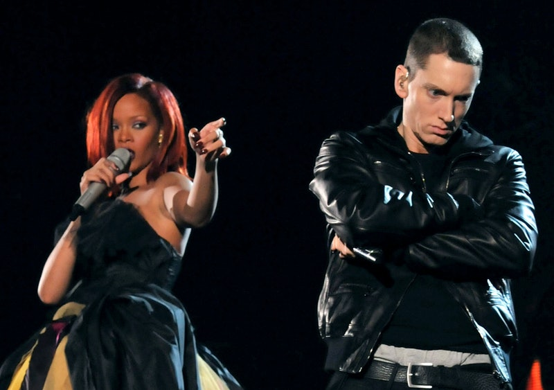 Rihanna and Eminem performing at the 2011 Grammy Awards in Los Angeles
