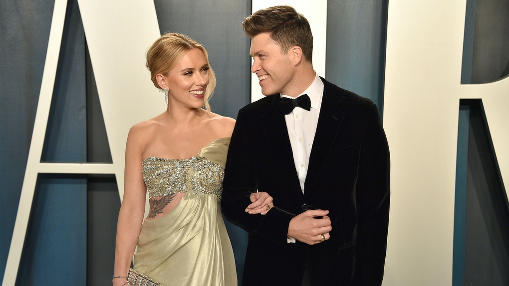 Scarlett Johansson and Colin Jost make a public appearance together.