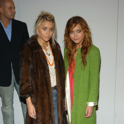 Ashley Olsen and Mary Kate Olsen during Olympus Fashion Week Spring 2005 - Marc Jacobs - Arrivals at Pier 54 in New York City, New York, United States.