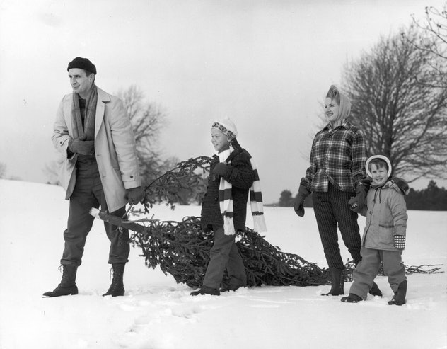 This vintage Christmas photo shows a family taking home their fresh cut tree.