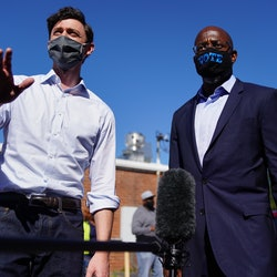 Democratic senate candidates Jon Ossoff and Rev. Raphael Warnock. Progressive organizers are seeing emerging signs of optimism in the Georgia Runoffs.