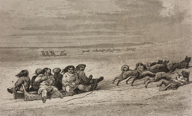 This engraving, from 1840, reflects the tight relationship between Arctic peoples and dogs.
