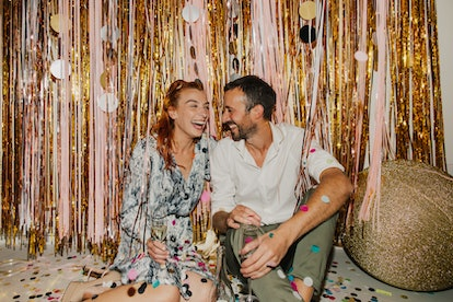 Throw a small New Year's Eve party with sparkly decorations