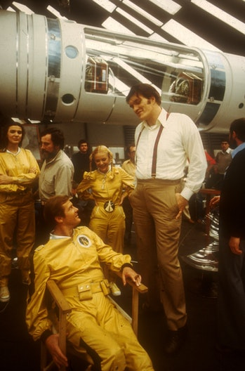 The cast of Moonraker backstage, including Richard Kiel and Roger Moore