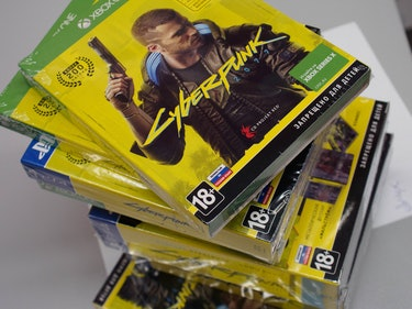 A stack of Cyberpunk 2077 copies.