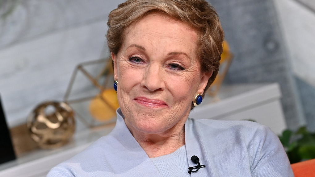 Julie Andrews smiles while sitting in a chair on a talk show.