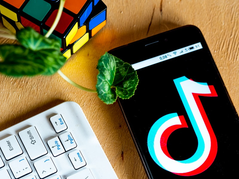 A phone displays a large TikTok icon on a desk with a houseplant, a rubics cube, and a keyboard. TikTok has some helpful productivity hacks that can help you get more work done.
