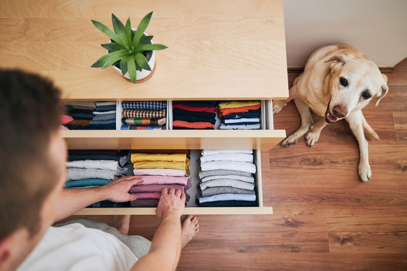 A person arranges their clothing drawers while their dog looks on. TikTok has some useful home organizing hacks for when you're trying to declutter.