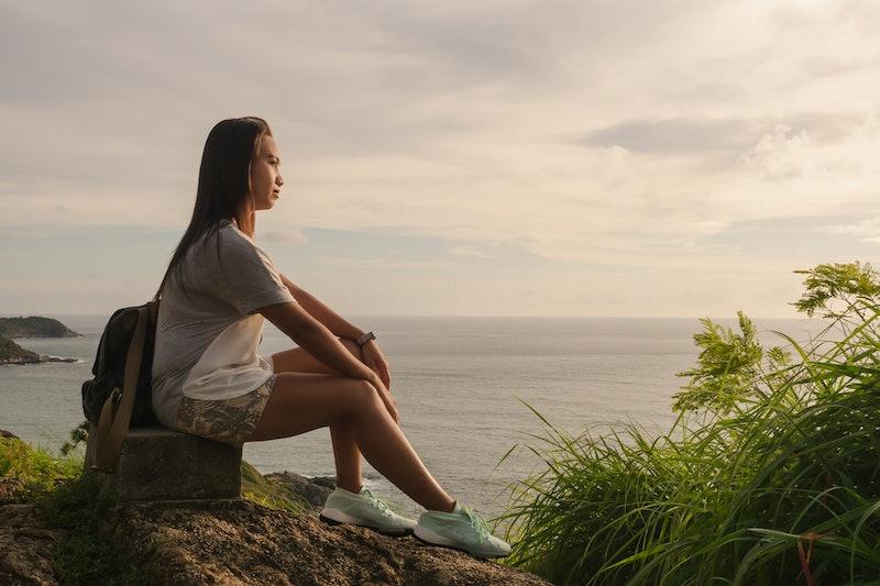 woman, beach, pondering