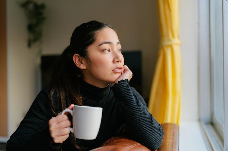 pondering, woman