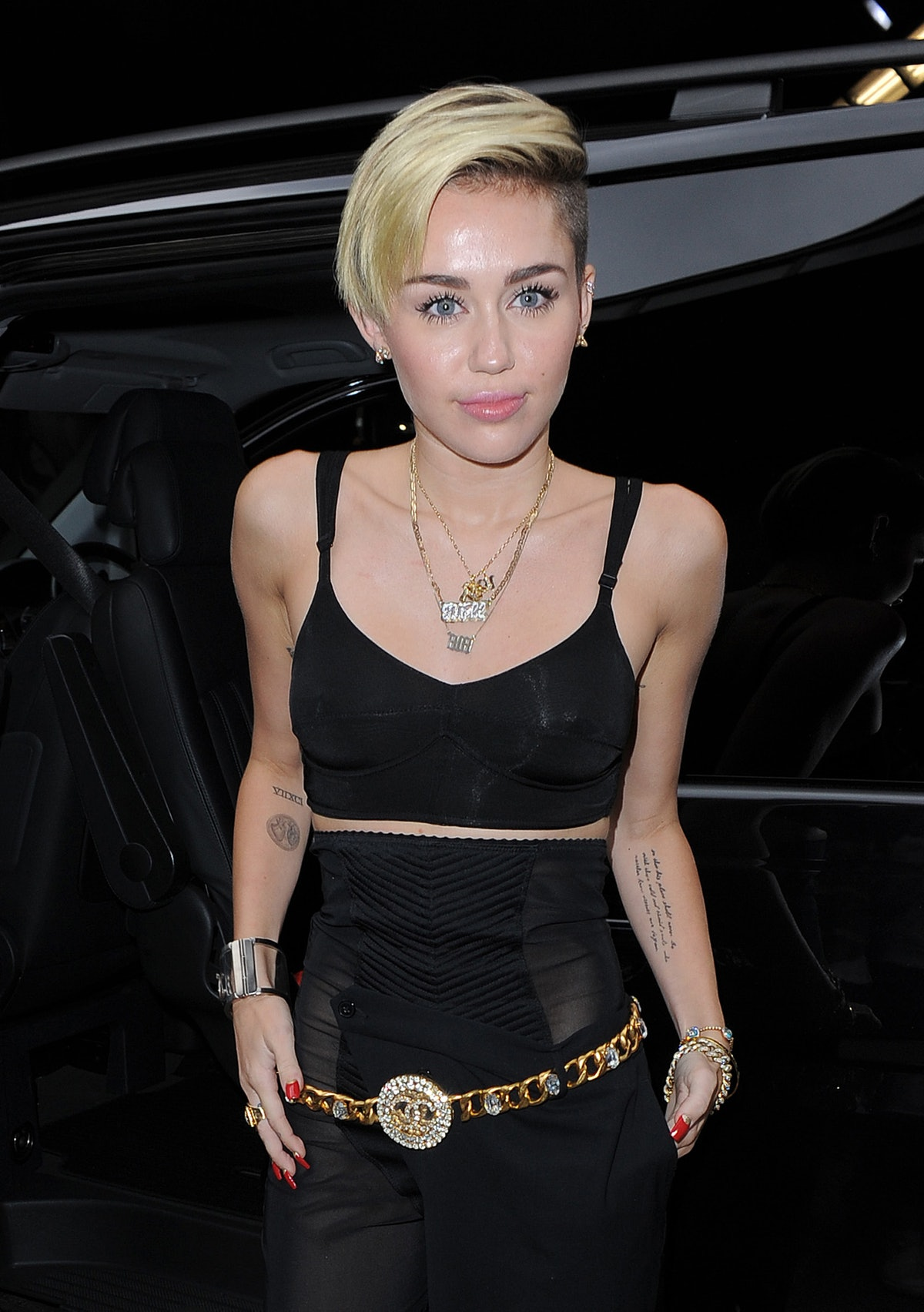 Miley Cyrus steps out in an all-black ensemble.