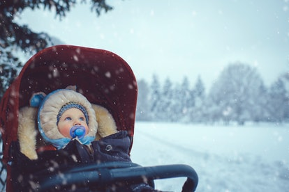baby in stroller in winter
