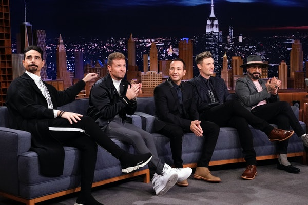 The Backstreet boys appear on The Jimmy Fallon Show.