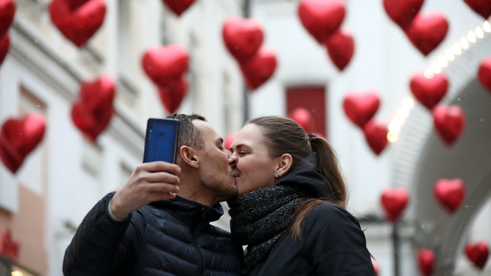 couple taking a selfie on valentine's day