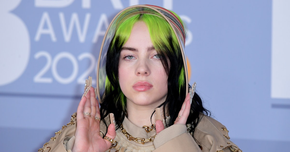 Billie Eilish Matched Her Burberry Plaid Nails To Her Outfit At The Brit Awards