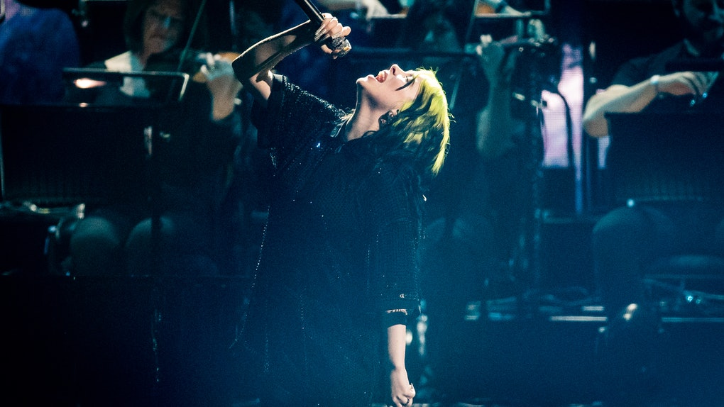 Billie Eilish performs at the 2020 BRIT Awards.