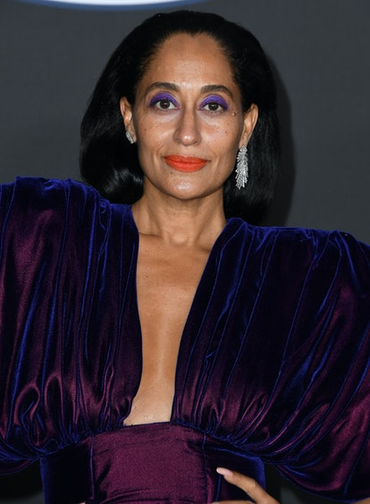 Tracee Ellis Ross at the NAACP Image Awards wearing bright purple eyeshadow