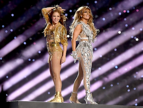 Jennifer Lopez and Shakira performing at the 2020 Super Bowl halftime show.