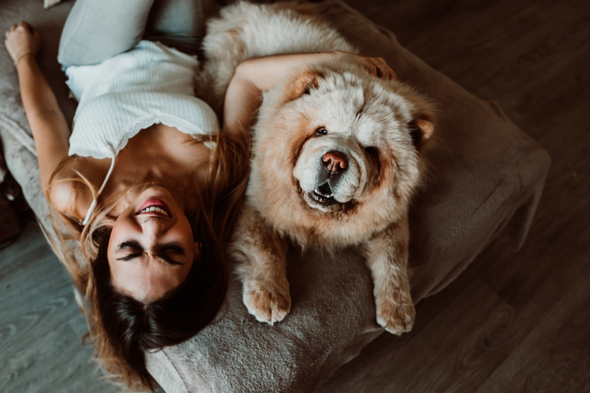 A woman lays on her bed with her very fluffy dog in the middle of the afternoon.