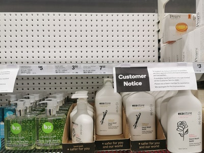 empty shelves, sold out hand sanitizer