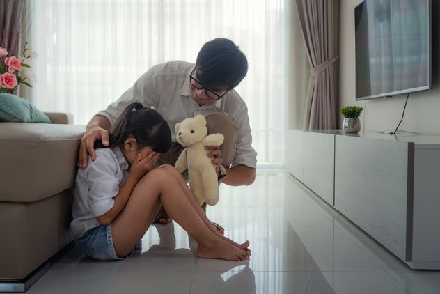 To keep kids calm when all the adults are panicking, offer them reassurance and comfort.
