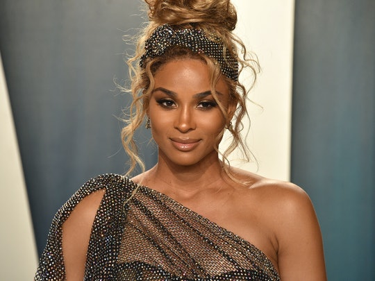 Ciara's bedazzled dress matched the bedazzled head wrap around her messy bun