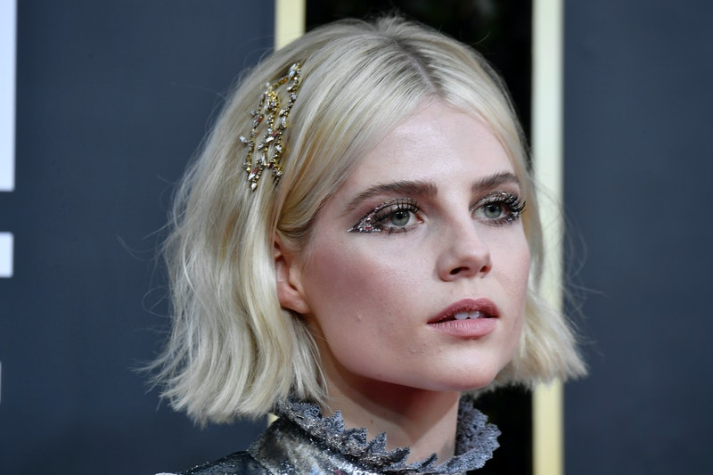 Lucy Boynton's sparkly clip is a great way to accessorize short hair