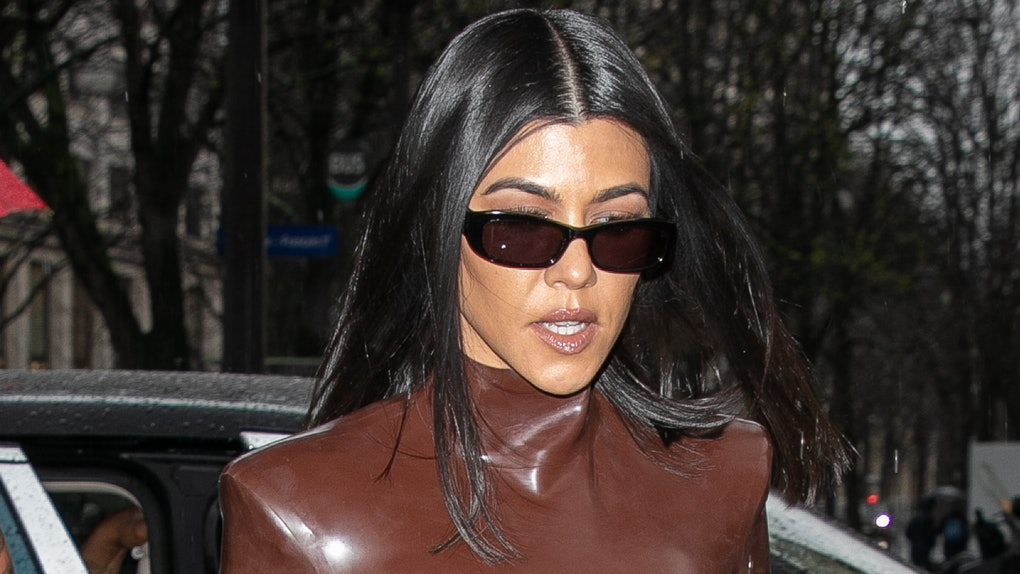 Kourtney Kardashian steps out in a latex bodysuit.
